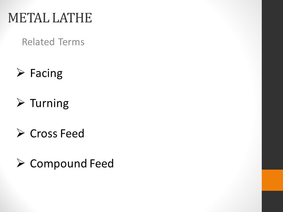 METAL LATHE Related Terms  Facing  Turning  Cross Feed  Compound Feed