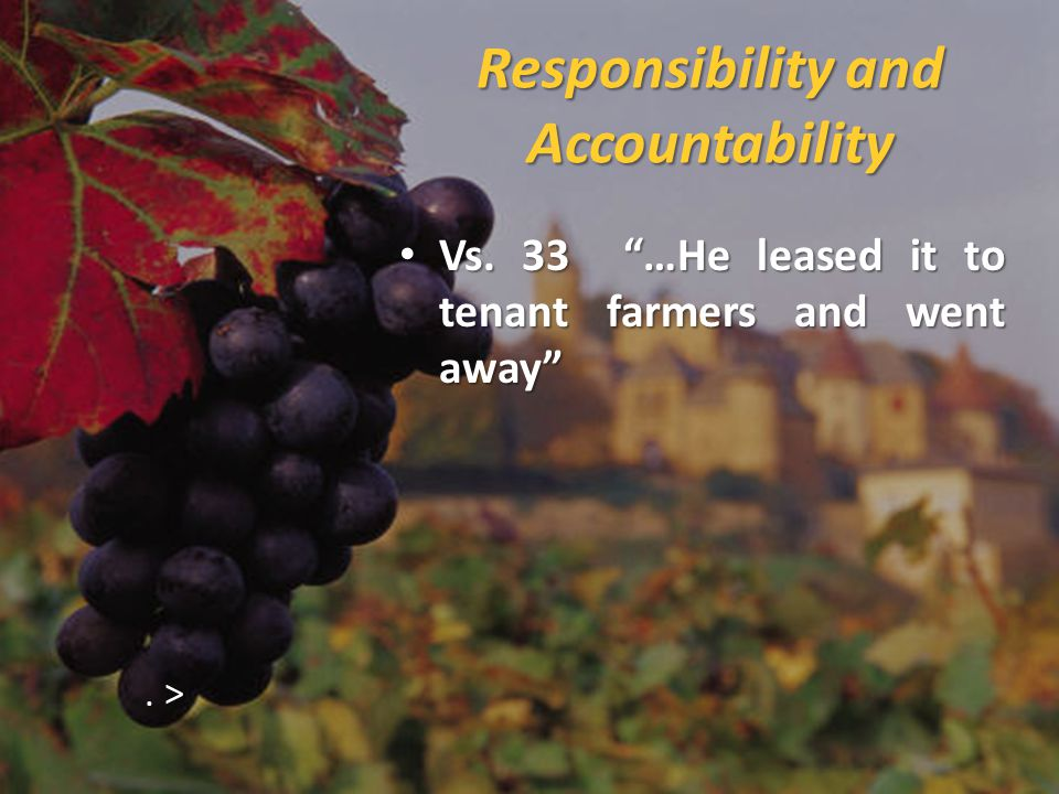 Responsibility and Accountability Vs.33 …He leased it to tenant farmers and went away Vs.