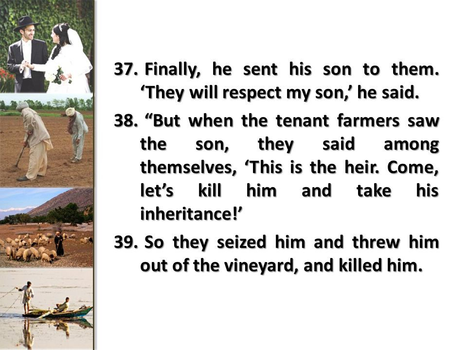 37.Finally, he sent his son to them. 'They will respect my son,' he said.
