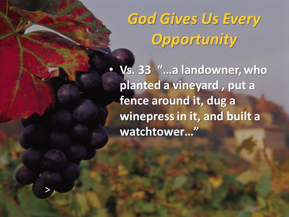 God Gives Us Every Opportunity Vs.