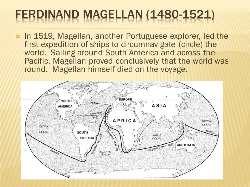 In 1519, Magellan, another Portuguese explorer, led the first expedition of ships to circumnavigate (circle) the world.