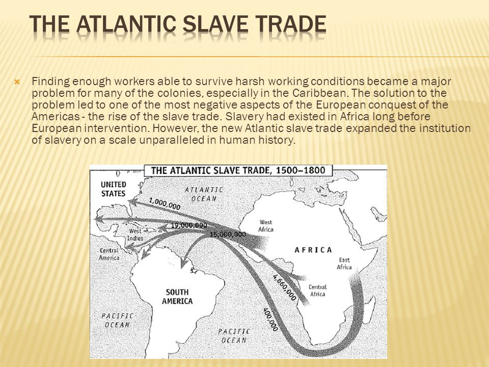  Finding enough workers able to survive harsh working conditions became a major problem for many of the colonies, especially in the Caribbean. The so
