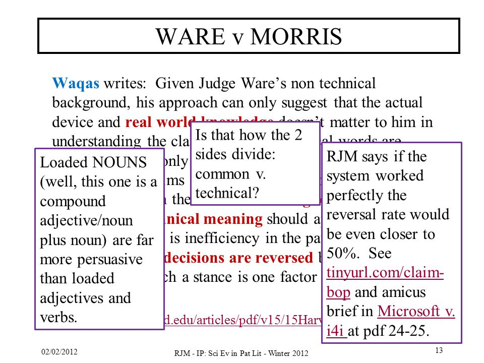 Waqas writes: Given Judge Ware's non technical background, his approach can only suggest that the actual device and real world knowledge doesn't matter to him in understanding the claims and how technical words are construed.