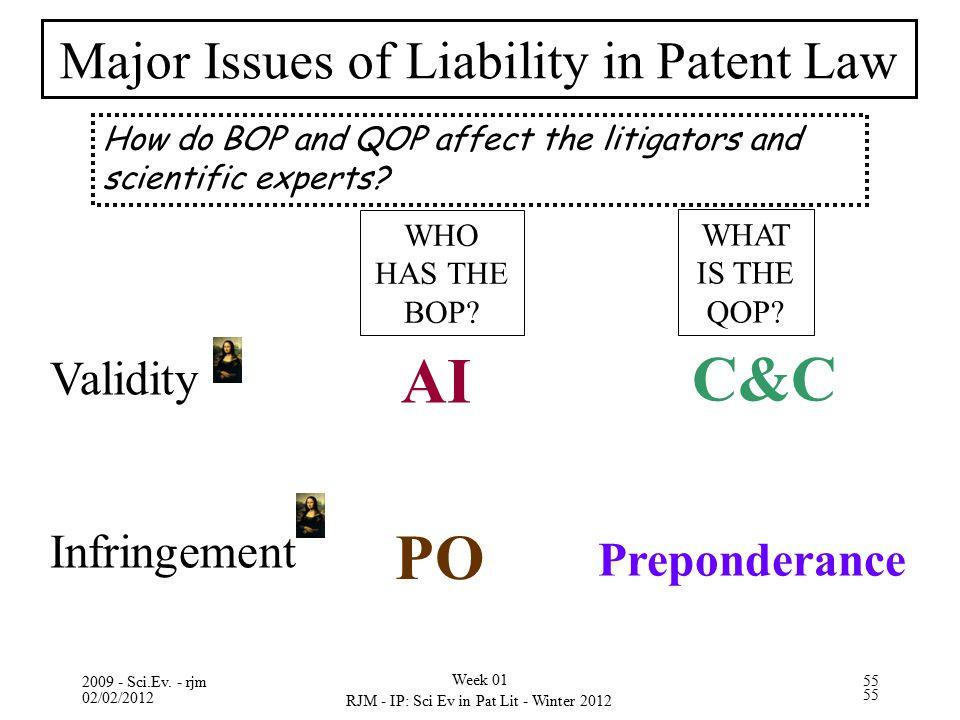 02/02/2012 RJM - IP: Sci Ev in Pat Lit - Winter 2012 55 2009 - Sci.Ev. - rjm Week 01 55 Validity Infringement AI Preponderance C&C PO WHO HAS THE BOP?