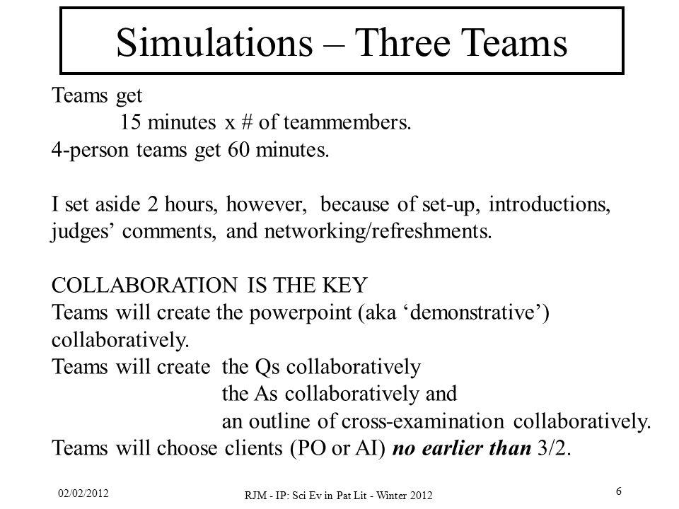 02/02/2012 RJM - IP: Sci Ev in Pat Lit - Winter 2012 6 Simulations – Three Teams Teams get 15 minutes x # of teammembers. 4-person teams get 60 minute