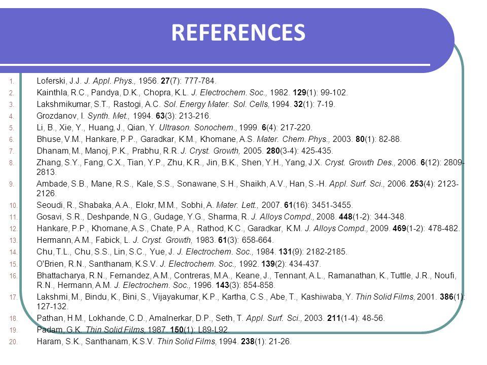 REFERENCES 1. Loferski, J.J. J. Appl. Phys., 1956. 27(7): 777-784. 2. Kainthla, R.C., Pandya, D.K., Chopra, K.L. J. Electrochem. Soc., 1982. 129(1): 9