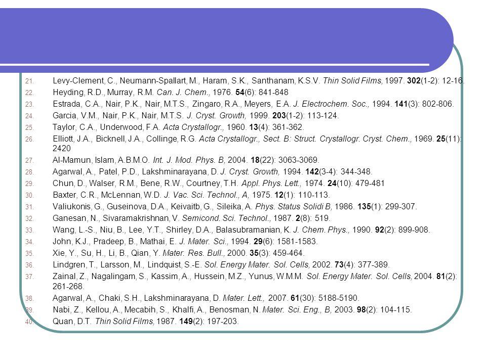 21. Levy-Clement, C., Neumann-Spallart, M., Haram, S.K., Santhanam, K.S.V. Thin Solid Films, 1997. 302(1-2): 12-16. 22. Heyding, R.D., Murray, R.M. Ca