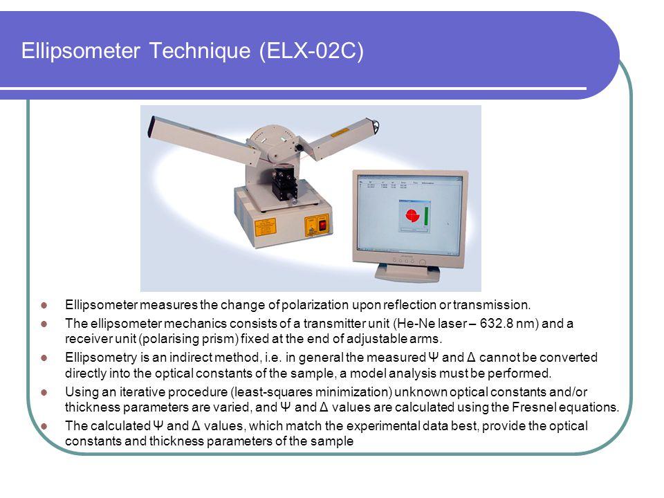 Ellipsometer Technique (ELX-02C) Ellipsometer measures the change of polarization upon reflection or transmission. The ellipsometer mechanics consists