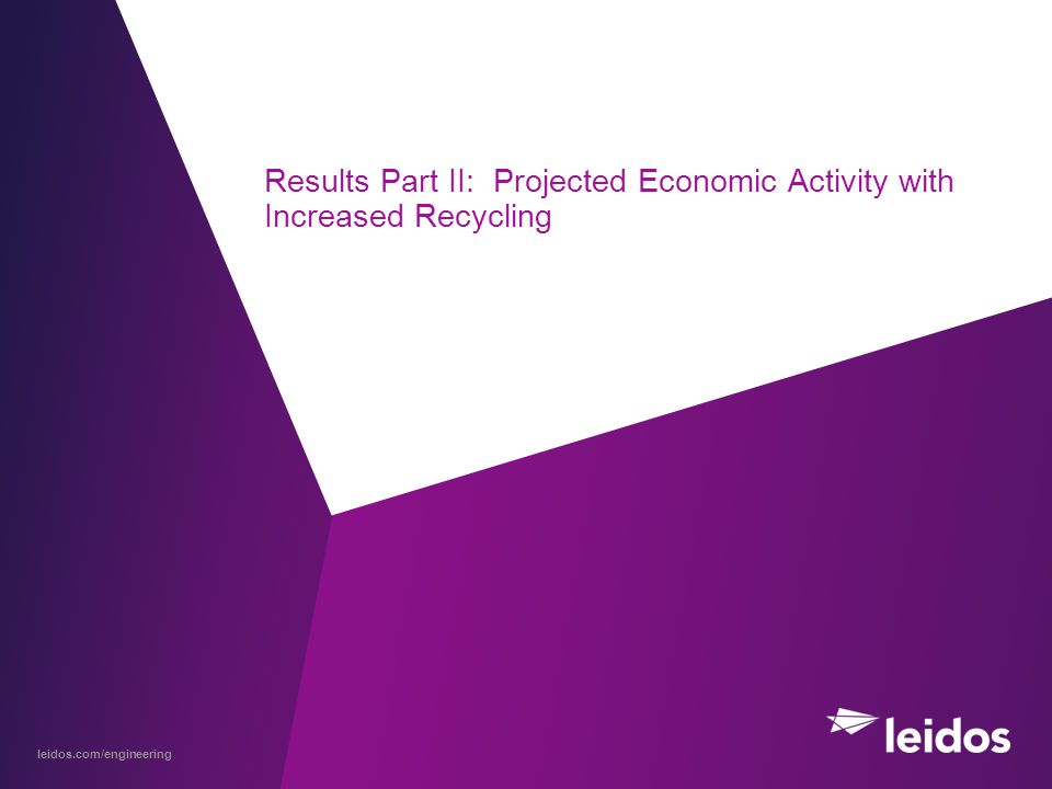 leidos.com/engineering Results Part II: Projected Economic Activity with Increased Recycling