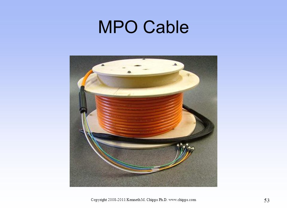 MPO Cable Copyright 2008-2011 Kenneth M. Chipps Ph.D. www.chipps.com 53