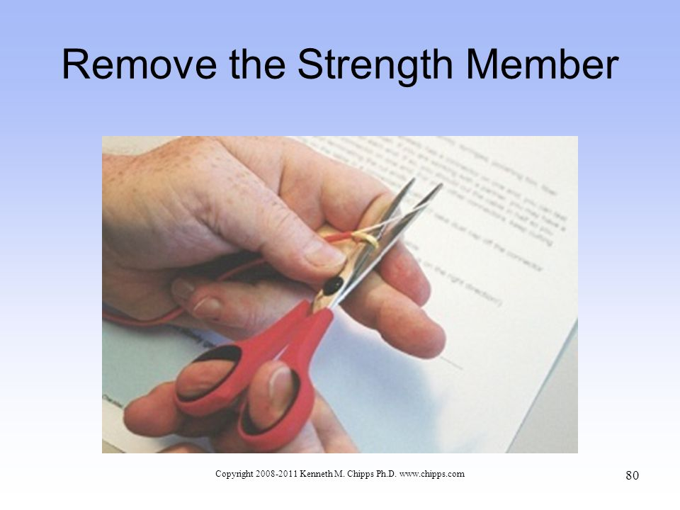 Remove the Strength Member Copyright 2008-2011 Kenneth M. Chipps Ph.D. www.chipps.com 80