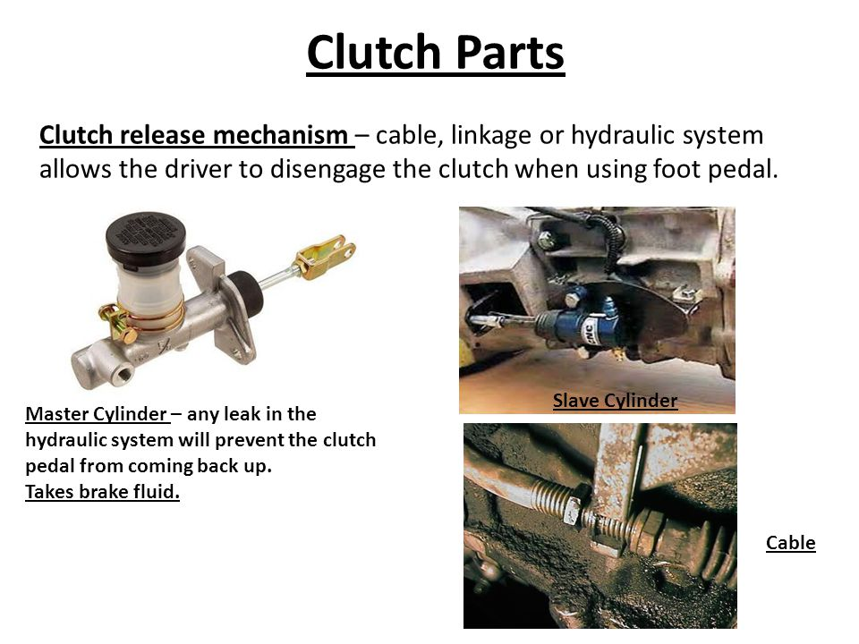 Clutch Parts Clutch release mechanism – cable, linkage or hydraulic system allows the driver to disengage the clutch when using foot pedal. Master Cyl