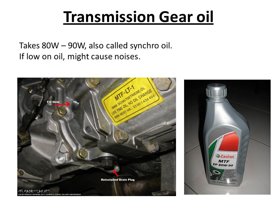 Transmission Gear oil Takes 80W – 90W, also called synchro oil. If low on oil, might cause noises.