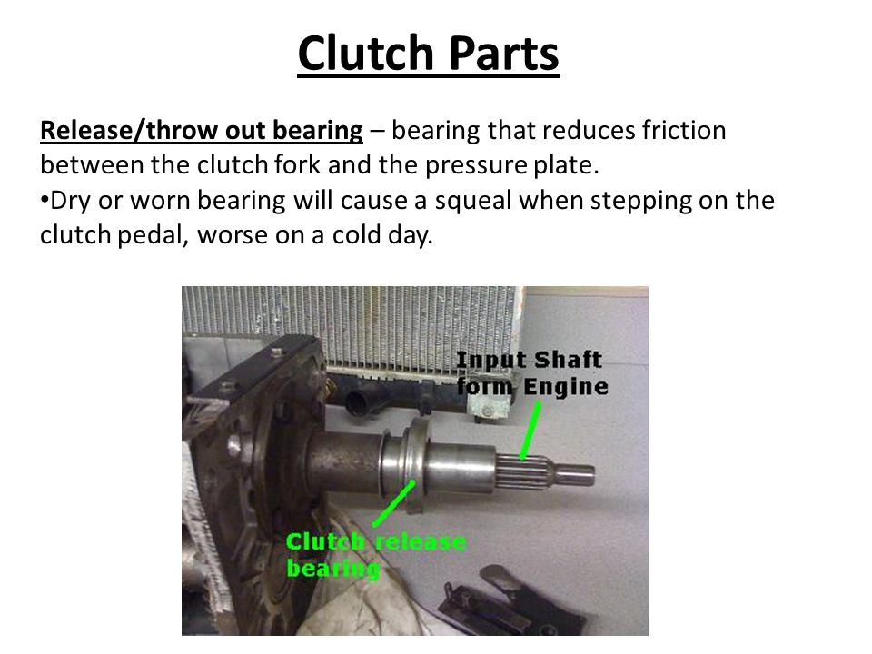 Clutch Parts Release/throw out bearing – bearing that reduces friction between the clutch fork and the pressure plate. Dry or worn bearing will cause
