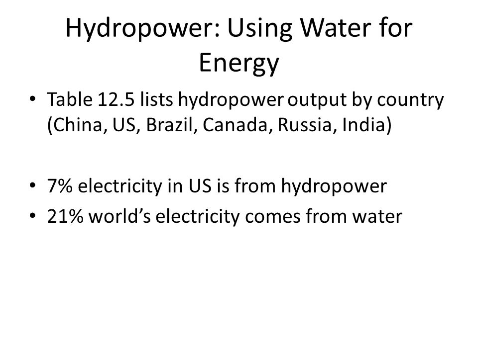 Hydropower: Using Water for Energy Table 12.5 lists hydropower output by country (China, US, Brazil, Canada, Russia, India) 7% electricity in US is from hydropower 21% world's electricity comes from water