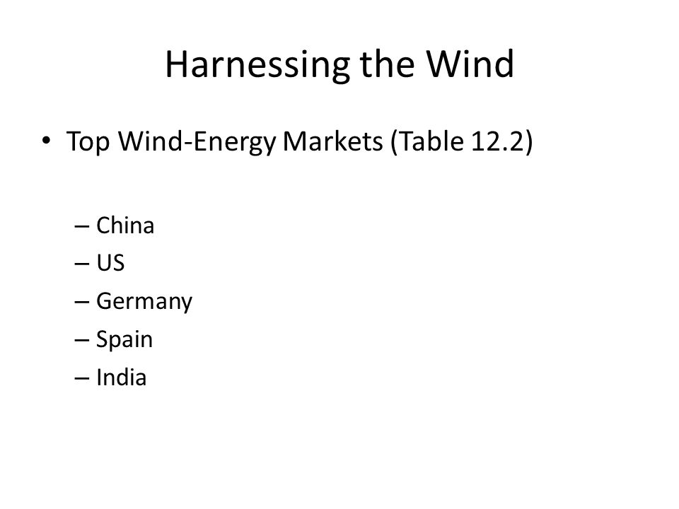 Harnessing the Wind Top Wind-Energy Markets (Table 12.2) – China – US – Germany – Spain – India