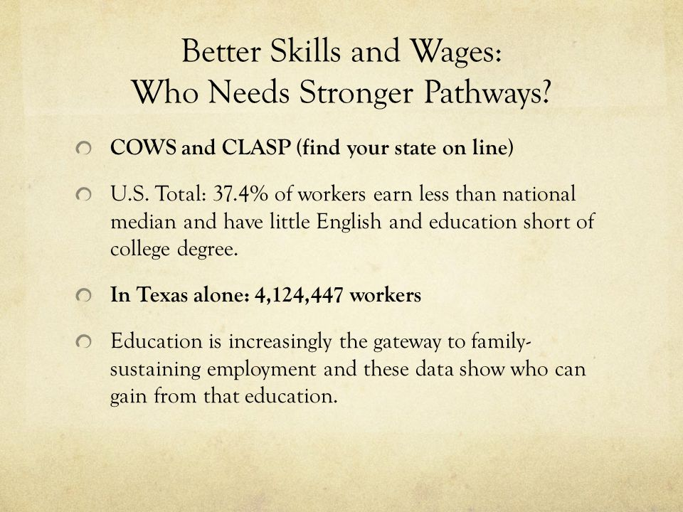 Better Skills and Wages: Who Needs Stronger Pathways.