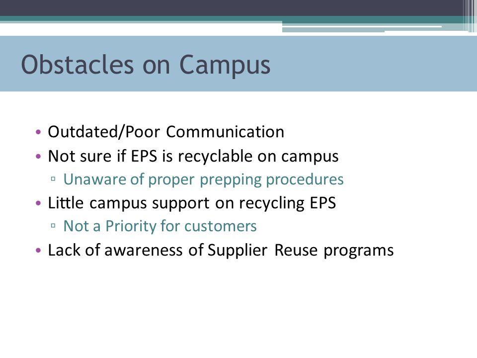 Obstacles on Campus Outdated/Poor Communication Not sure if EPS is recyclable on campus ▫ Unaware of proper prepping procedures Little campus support on recycling EPS ▫ Not a Priority for customers Lack of awareness of Supplier Reuse programs