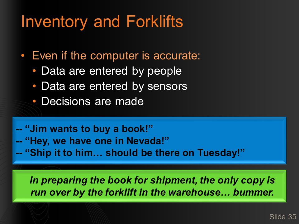 """Inventory and Forklifts Even if the computer is accurate: Data are entered by people Data are entered by sensors Decisions are made Slide 35 -- """"Jim w"""