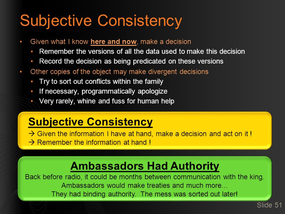Subjective Consistency  Given the information I have at hand, make a decision and act on it !  Remember the information at hand ! Subjective Consist