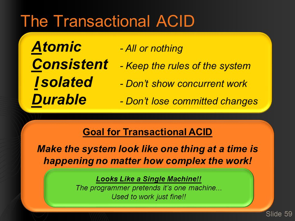 The Transactional ACID Slide 59 Atomic - All or nothing Consistent - Keep the rules of the system I solated - Don't show concurrent work Durable - Don't lose committed changes Goal for Transactional ACID Make the system look like one thing at a time is happening no matter how complex the work.