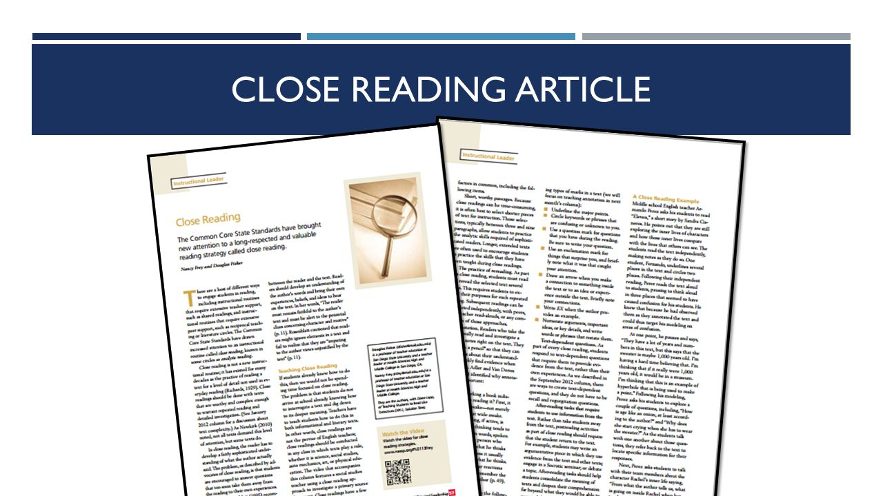 Elements of Close Reading Appropriately Complex Text Careful, Purposeful Reading Short Passages Limited Frontloading Repeated Readings Annotation Text- Dependent Questioning Student Talk Writing From Reading