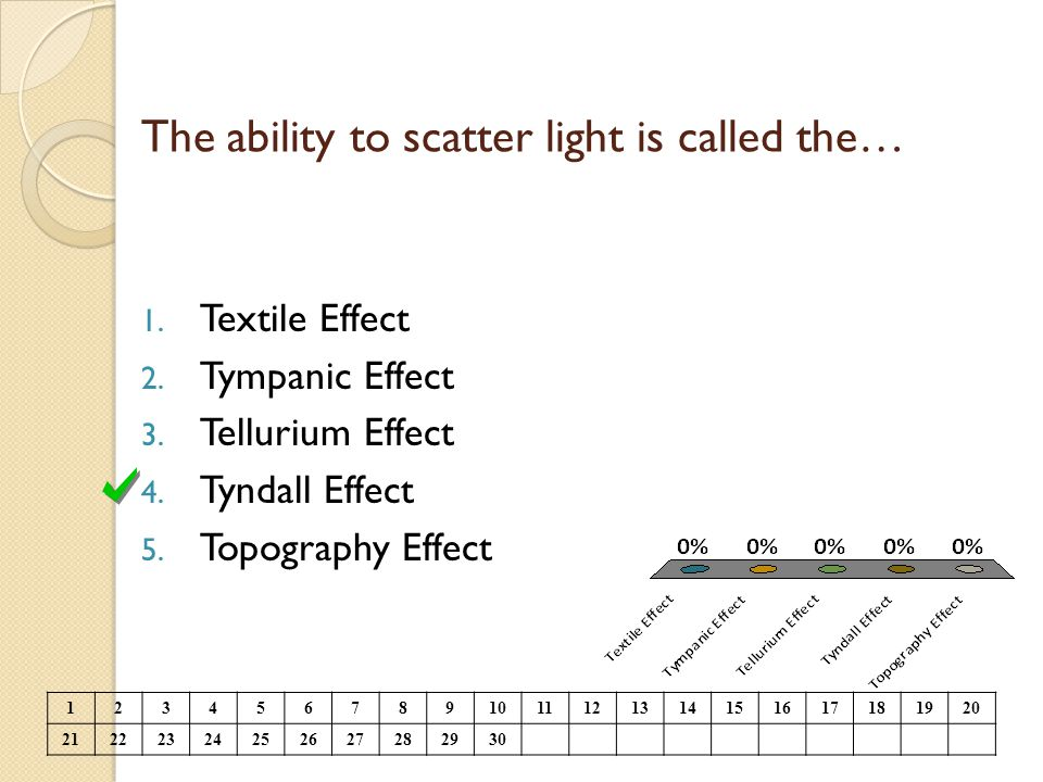 The ability to scatter light is called the… 1. Textile Effect 2. Tympanic Effect 3. Tellurium Effect 4. Tyndall Effect 5. Topography Effect 1234567891
