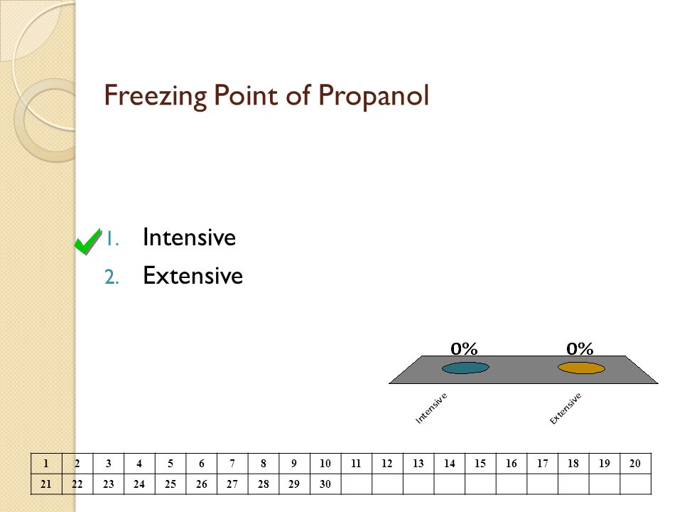 Freezing Point of Propanol 1. Intensive 2. Extensive 1234567891011121314151617181920 21222324252627282930