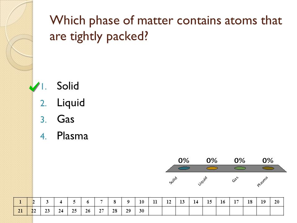Which phase of matter contains atoms that are tightly packed? 1. Solid 2. Liquid 3. Gas 4. Plasma 1234567891011121314151617181920 21222324252627282930