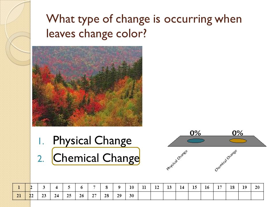 What type of change is occurring when leaves change color? 1. Physical Change 2. Chemical Change 1234567891011121314151617181920 21222324252627282930