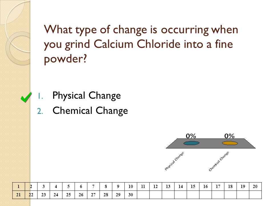 What type of change is occurring when you grind Calcium Chloride into a fine powder? 1. Physical Change 2. Chemical Change 123456789101112131415161718