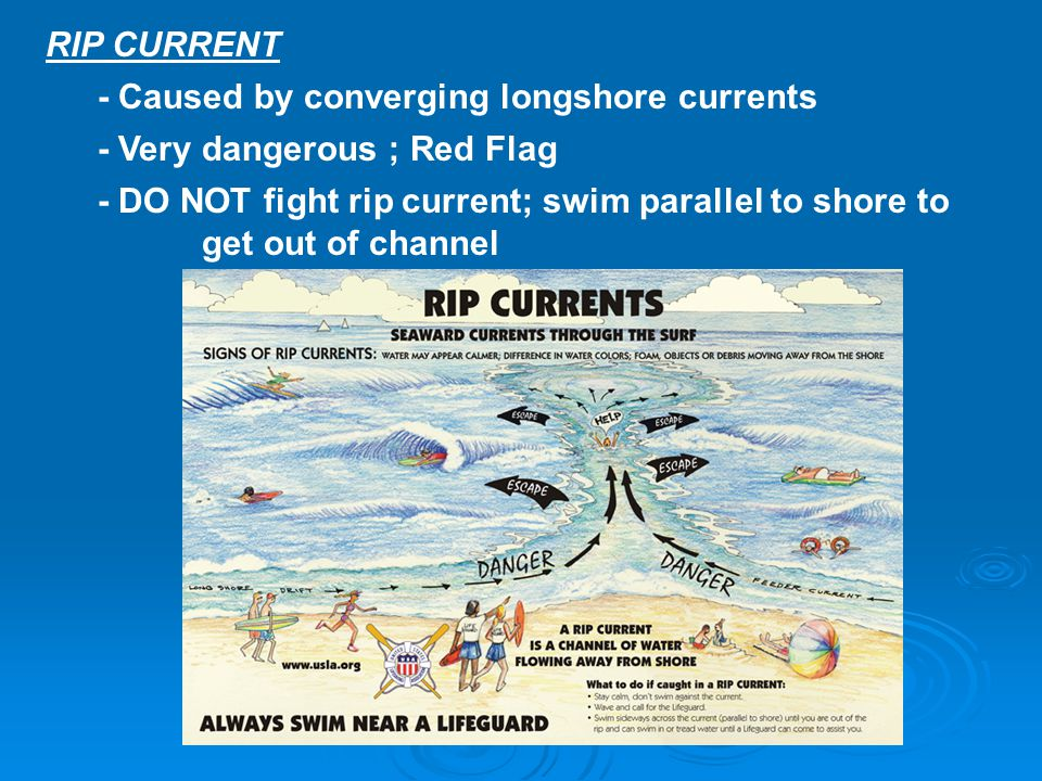 RIP CURRENT - Caused by converging longshore currents - Very dangerous ; Red Flag - DO NOT fight rip current; swim parallel to shore to get out of cha