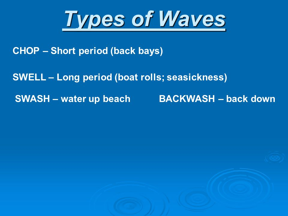 Types of Waves CHOP – Short period (back bays) SWELL – Long period (boat rolls; seasickness) SWASH – water up beach BACKWASH – back down