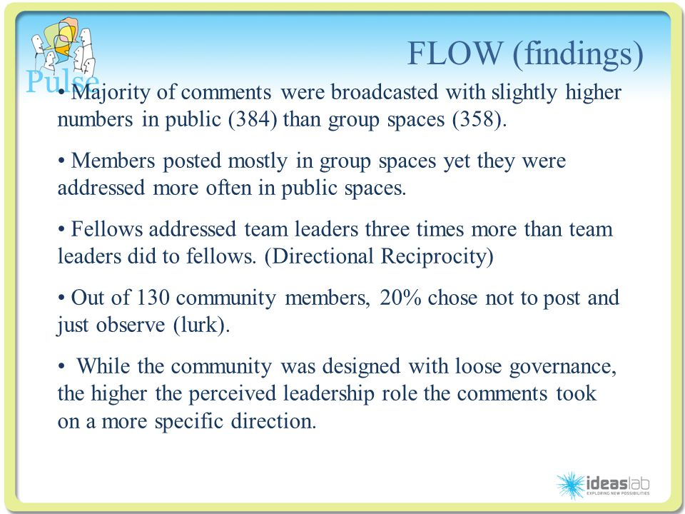 Click to edit Master title style FLOW (findings) Majority of comments were broadcasted with slightly higher numbers in public (384) than group spaces