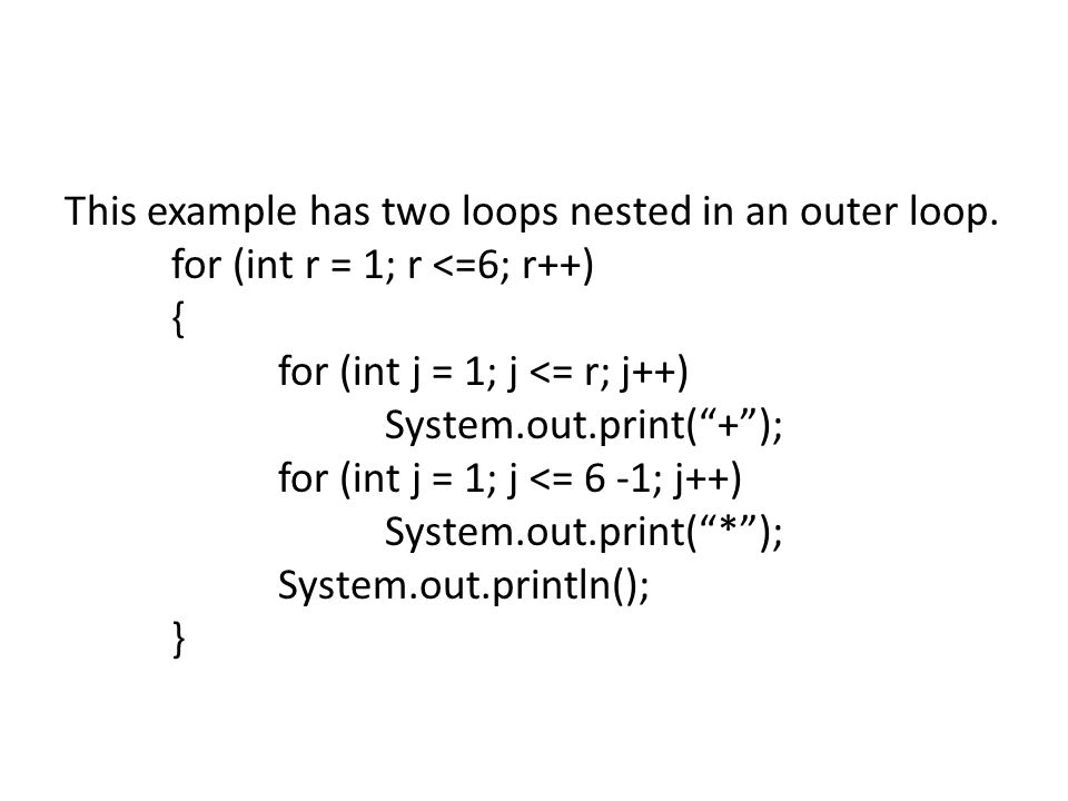 This example has two loops nested in an outer loop.