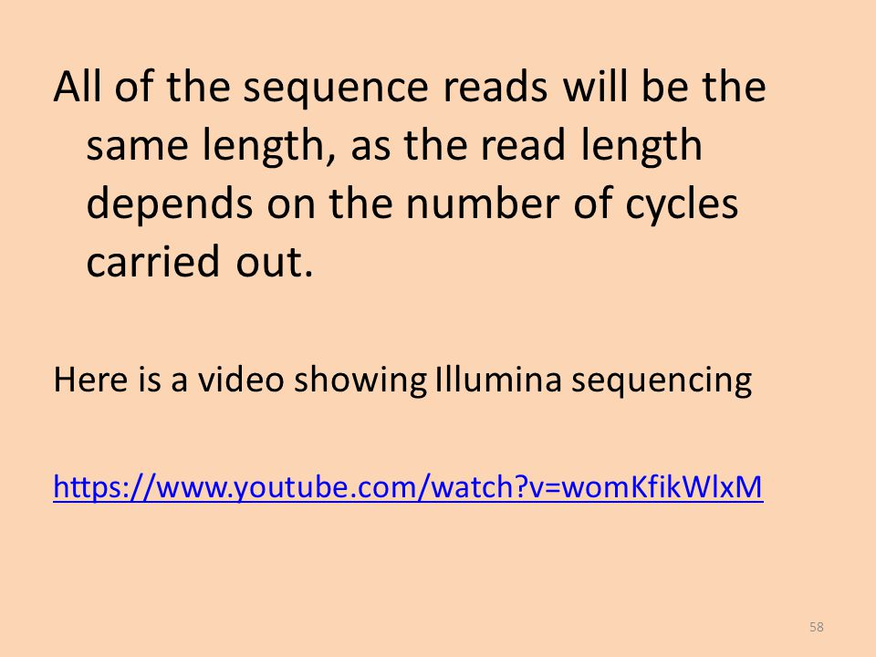 All of the sequence reads will be the same length, as the read length depends on the number of cycles carried out.