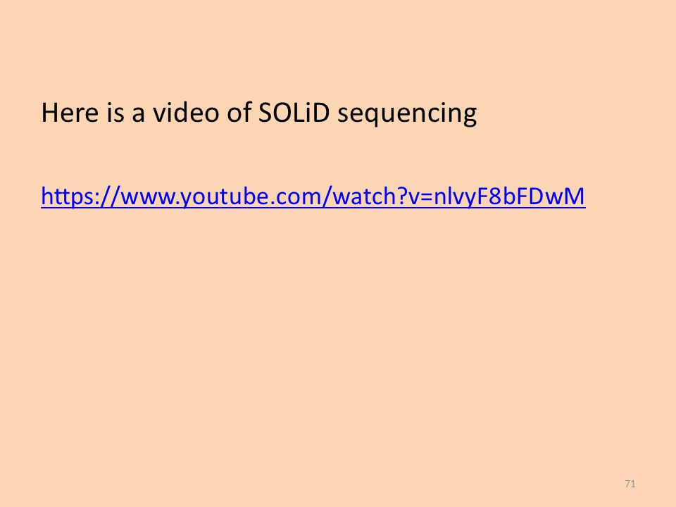 Here is a video of SOLiD sequencing https://www.youtube.com/watch?v=nlvyF8bFDwM 71