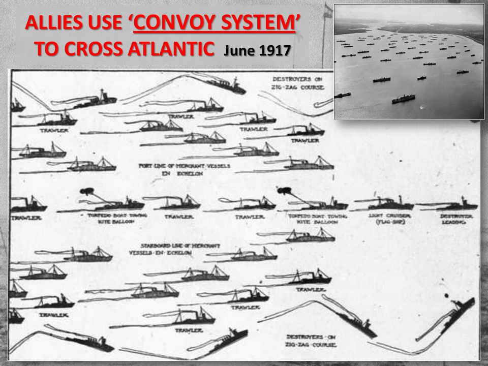 ALLIES USE ' CONVOY SYSTEM ' TO CROSS ATLANTIC June 1917
