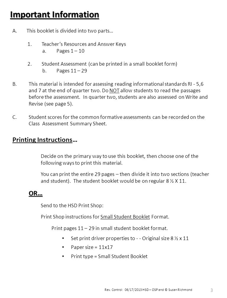 Rev. Control: 06/17/2013 HSD – OSP and © Susan Richmond 3 Important Information A.This booklet is divided into two parts… 1.Teacher's Resources and An