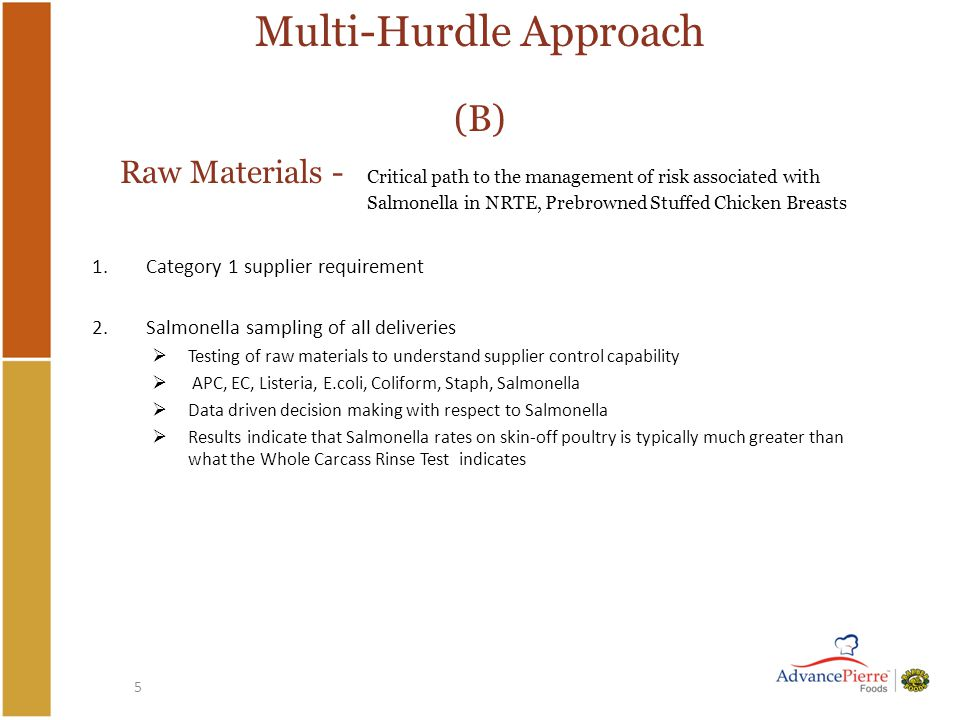 5 Multi-Hurdle Approach (B) Raw Materials - Critical path to the management of risk associated with Salmonella in NRTE, Prebrowned Stuffed Chicken Breasts 1.Category 1 supplier requirement 2.Salmonella sampling of all deliveries  Testing of raw materials to understand supplier control capability  APC, EC, Listeria, E.coli, Coliform, Staph, Salmonella  Data driven decision making with respect to Salmonella  Results indicate that Salmonella rates on skin-off poultry is typically much greater than what the Whole Carcass Rinse Test indicates