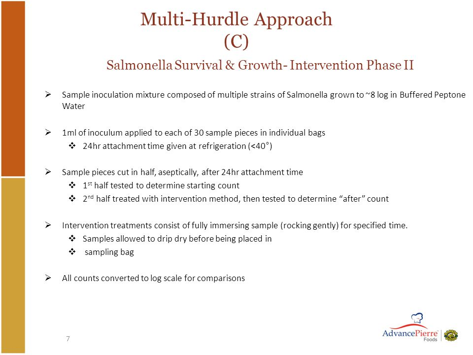 7 Multi-Hurdle Approach (C) Salmonella Survival & Growth- Intervention Phase II  Sample inoculation mixture composed of multiple strains of Salmonella grown to ~8 log in Buffered Peptone Water  1ml of inoculum applied to each of 30 sample pieces in individual bags  24hr attachment time given at refrigeration (<40°)  Sample pieces cut in half, aseptically, after 24hr attachment time  1 st half tested to determine starting count  2 nd half treated with intervention method, then tested to determine after count  Intervention treatments consist of fully immersing sample (rocking gently) for specified time.