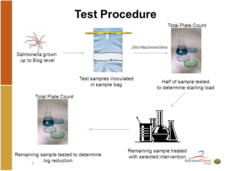 8 Test Procedure Salmonella grown up to 8log level Test samples inoculated in sample bag Half of sample tested to determine starting load 24hr Attachment time Total Plate Count Remaining sample treated with selected intervention Remaining sample tested to determine log reduction Total Plate Count