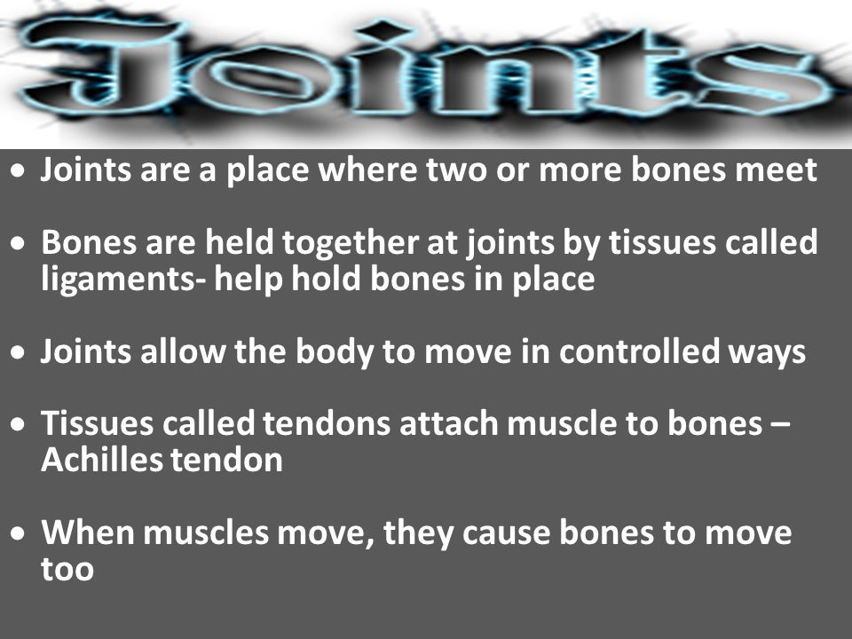  Joints are a place where two or more bones meet  Bones are held together at joints by tissues called ligaments- help hold bones in place  Joints allow the body to move in controlled ways  Tissues called tendons attach muscle to bones – Achilles tendon  When muscles move, they cause bones to move too