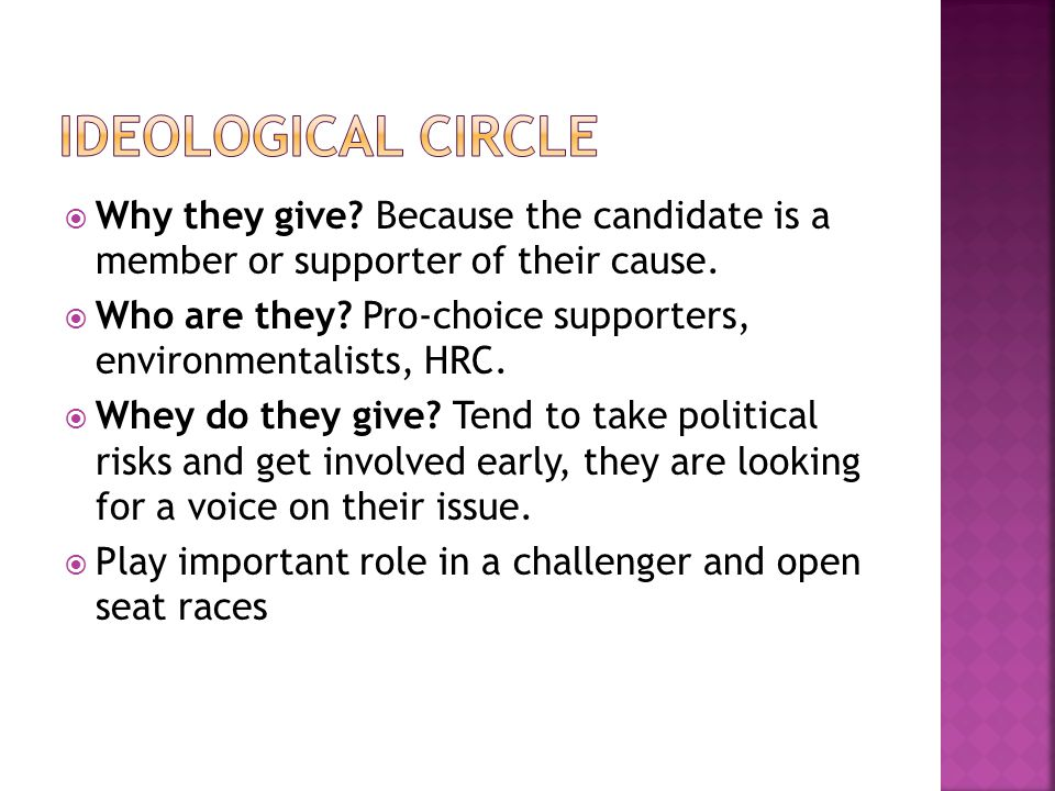  Why they give. Because the candidate is a member or supporter of their cause.