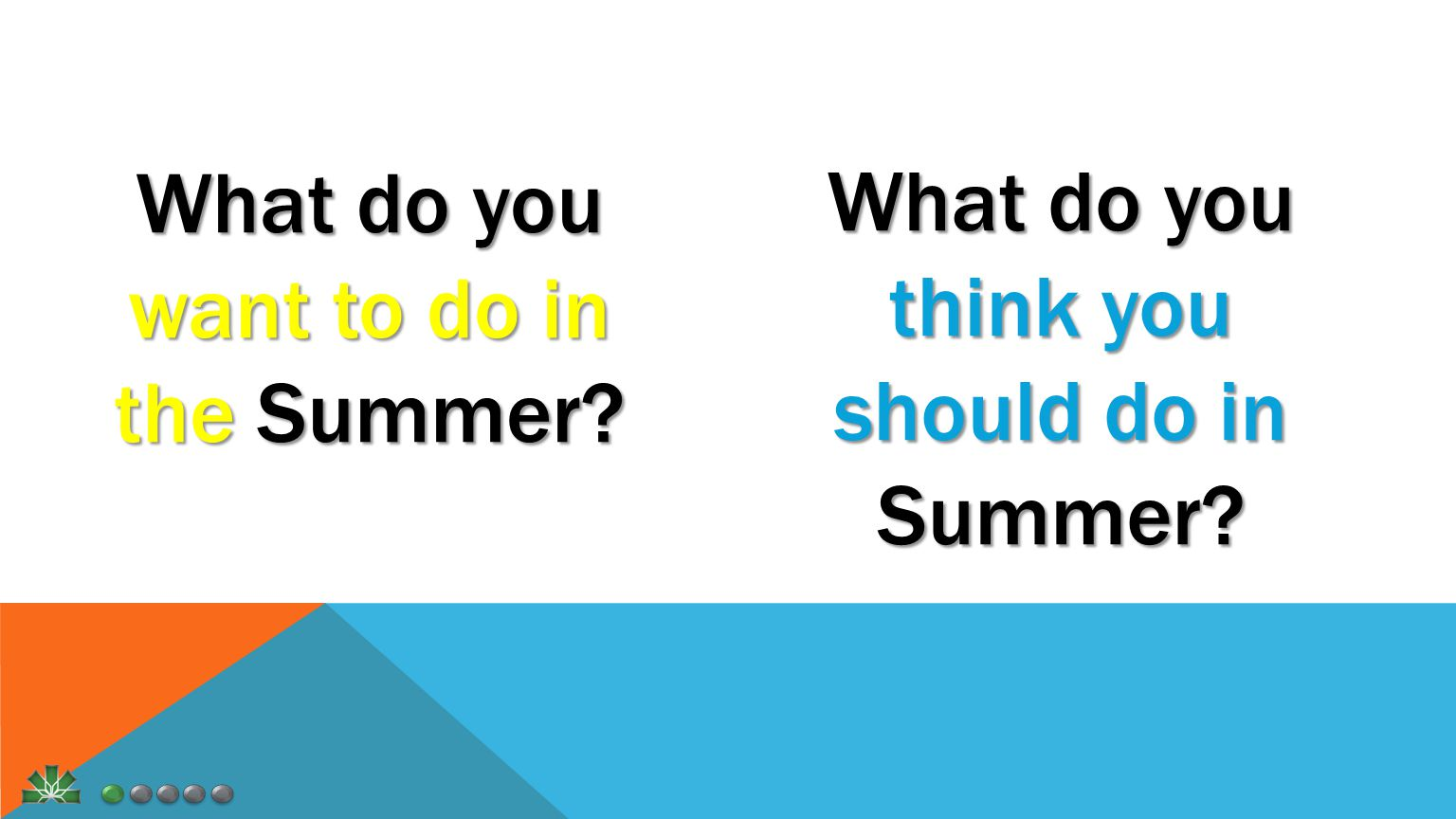 What do you want to do in the Summer What do you think you should do in Summer