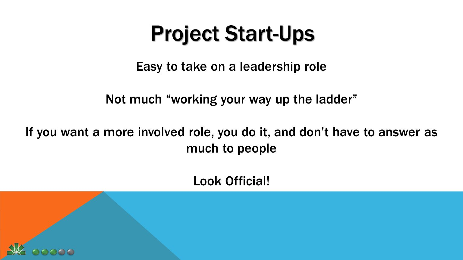 Project Start-Ups Easy to take on a leadership role Not much working your way up the ladder If you want a more involved role, you do it, and don't have to answer as much to people Look Official!