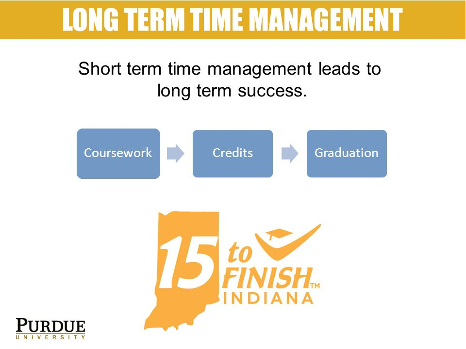 LONG TERM TIME MANAGEMENT Short term time management leads to long term success.