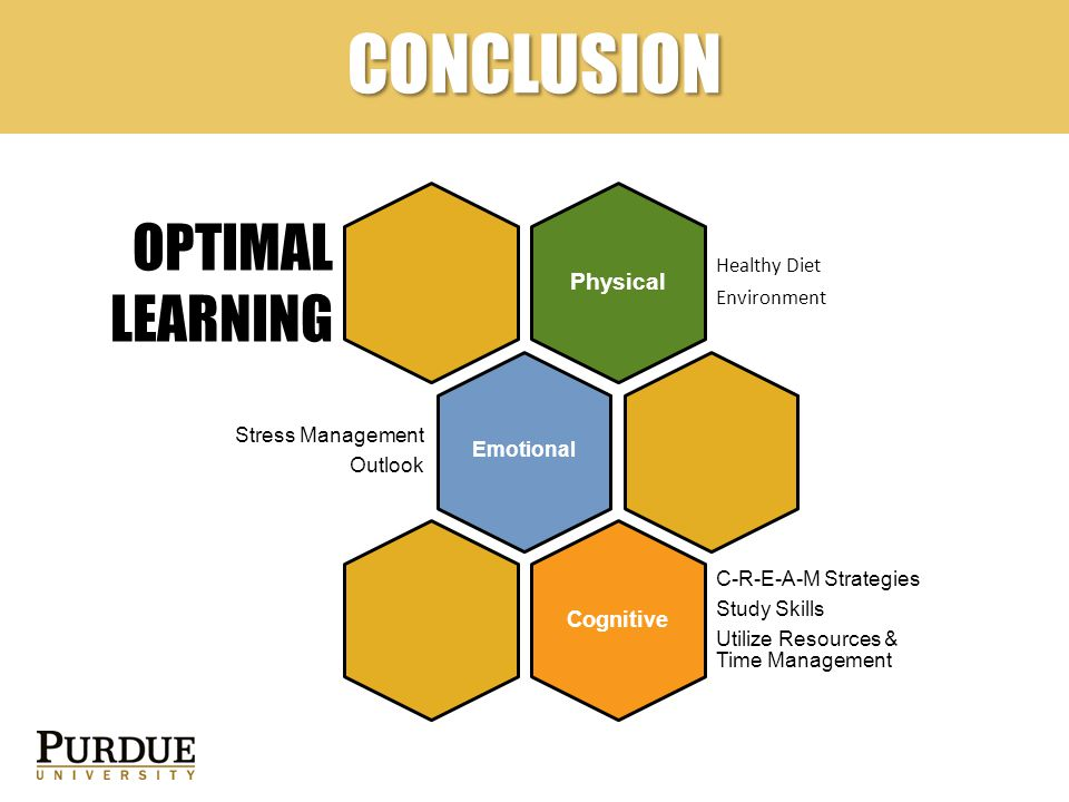 CONCLUSION Physical Healthy Diet Environment Emotional Stress Management Outlook Cognitive C-R-E-A-M Strategies Study Skills Utilize Resources & Time Management OPTIMAL LEARNING