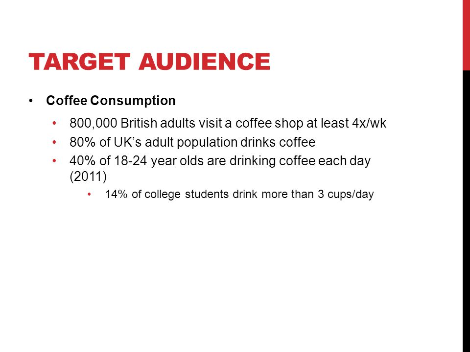 TARGET AUDIENCE Coffee Consumption 800,000 British adults visit a coffee shop at least 4x/wk 80% of UK's adult population drinks coffee 40% of 18-24 year olds are drinking coffee each day (2011) 14% of college students drink more than 3 cups/day