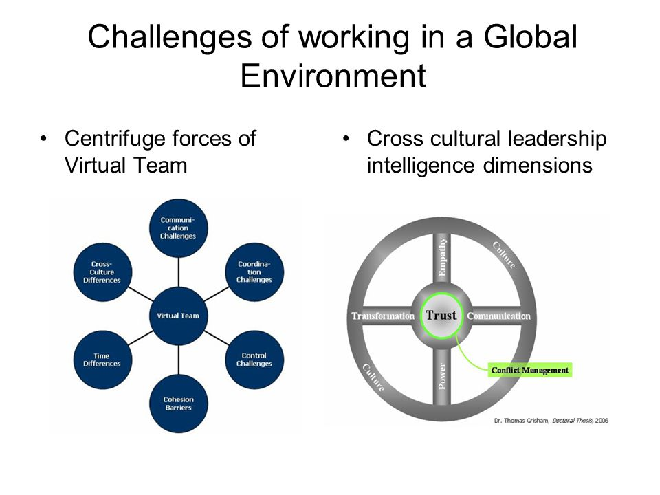 Challenges of working in a Global Environment Centrifuge forces of Virtual Team Cross cultural leadership intelligence dimensions
